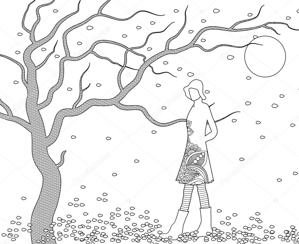 Woman Walking In Blustery Fall Coloring Page — Stock Photo © smk0473 ...