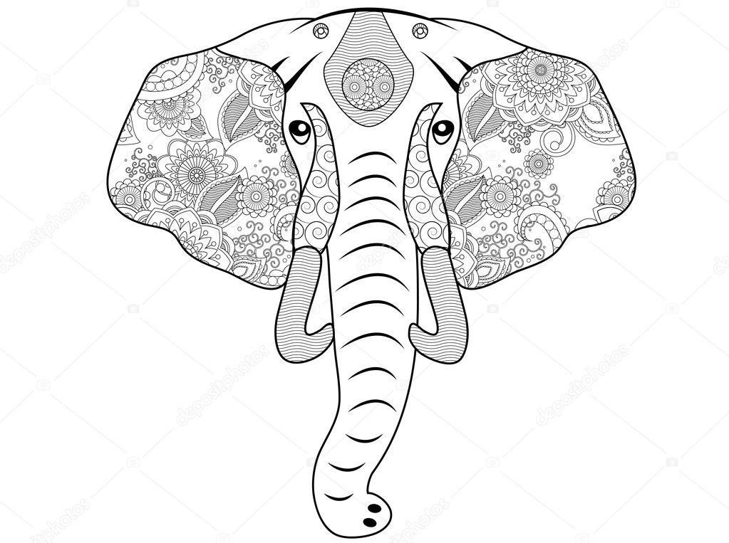 Página para colorear de elefante — Foto de stock © smk0473 #128476000