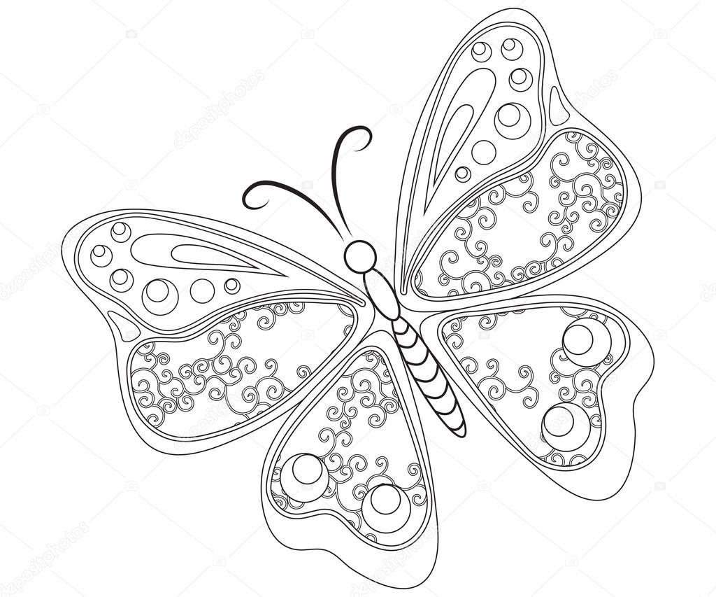 Kelebek Boyama Sayfası Stok Foto Smk0473 128476044