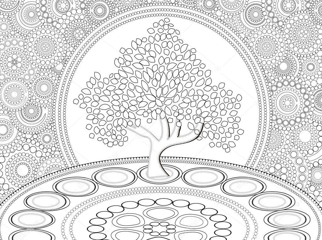 Malvorlagen Baum Des Lebens Stockfoto Smk0473 128479936