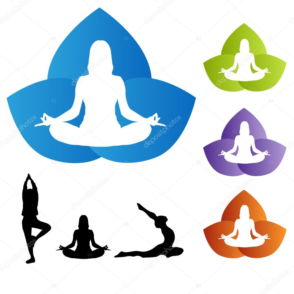 Yoga Pose With Lotus Flower Icons Stock Vector Smk0473 128602826