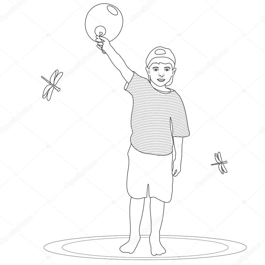 çocuk Holding Balon Boyama Sayfası Stok Foto Smk0473 128839854