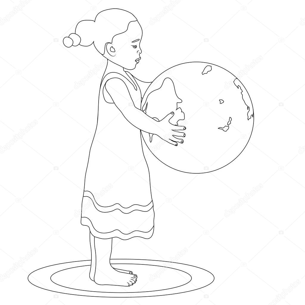 holding globe coloring page u2014 stock photo smk0473 128840000