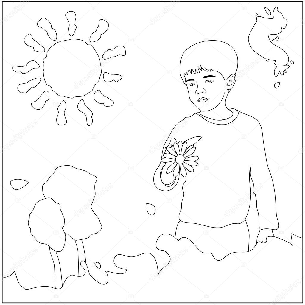 boy painting coloring page u2014 stock photo smk0473 128840010