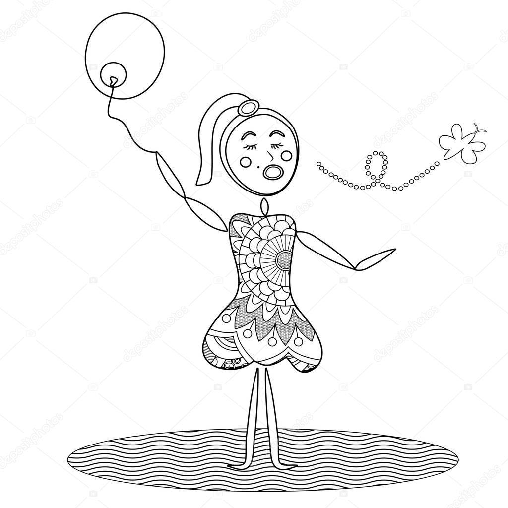 Abstracte Meisje Houden Ballon Kleurplaat Stockfoto C Smk0473