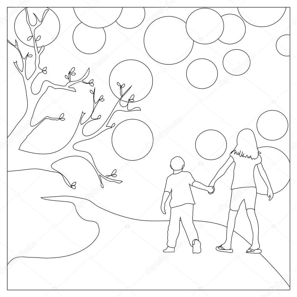 Kinderen Die Hand In Hand Kleurplaat Pagina Stockfoto C Smk0473