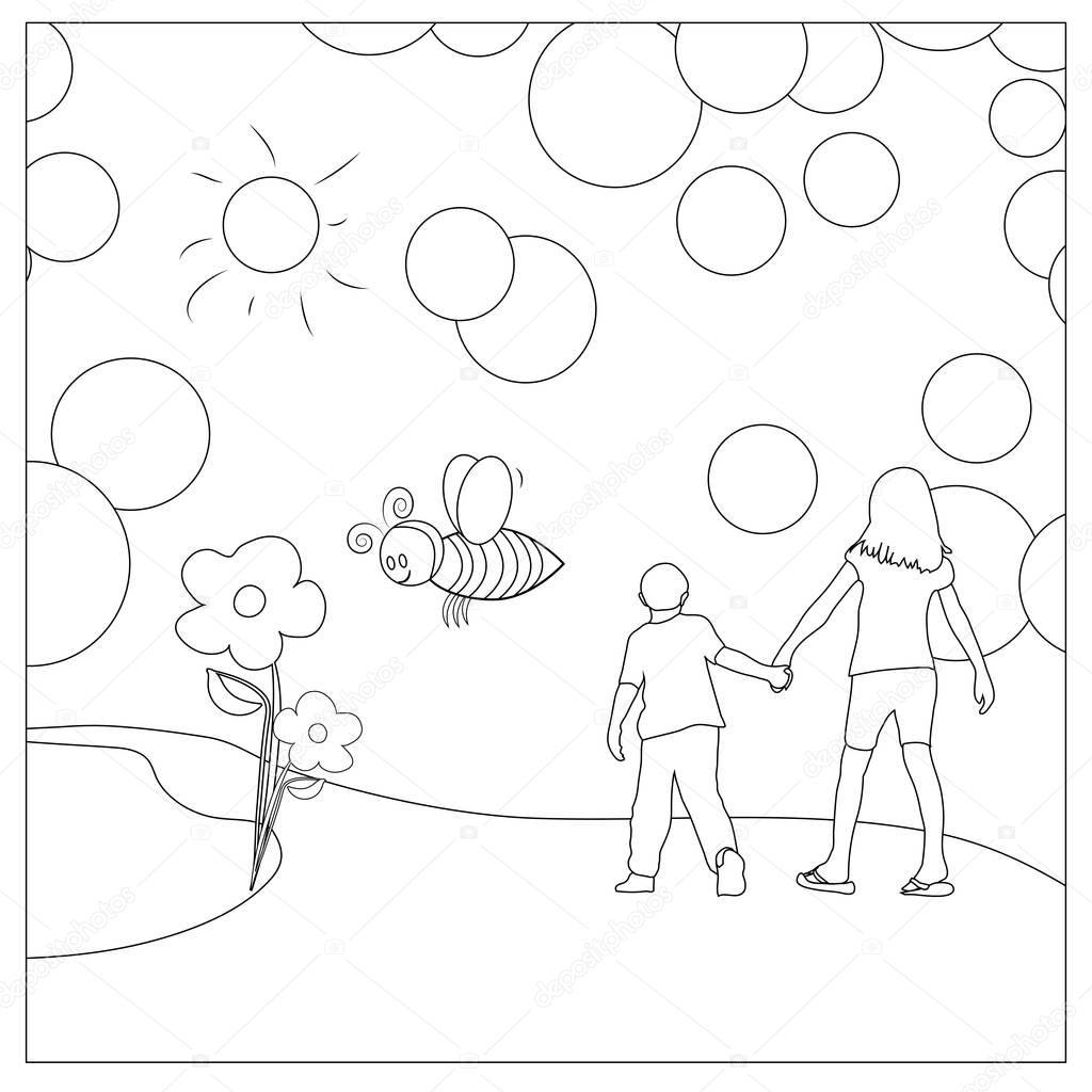 niños que colorean página — Fotos de Stock © smk0473 #128843648
