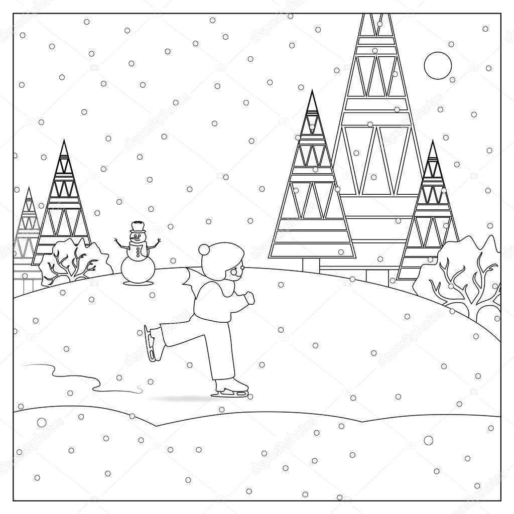 çocuk Kar Buz Pateni Noel Boyama Sayfası Stok Foto Smk0473