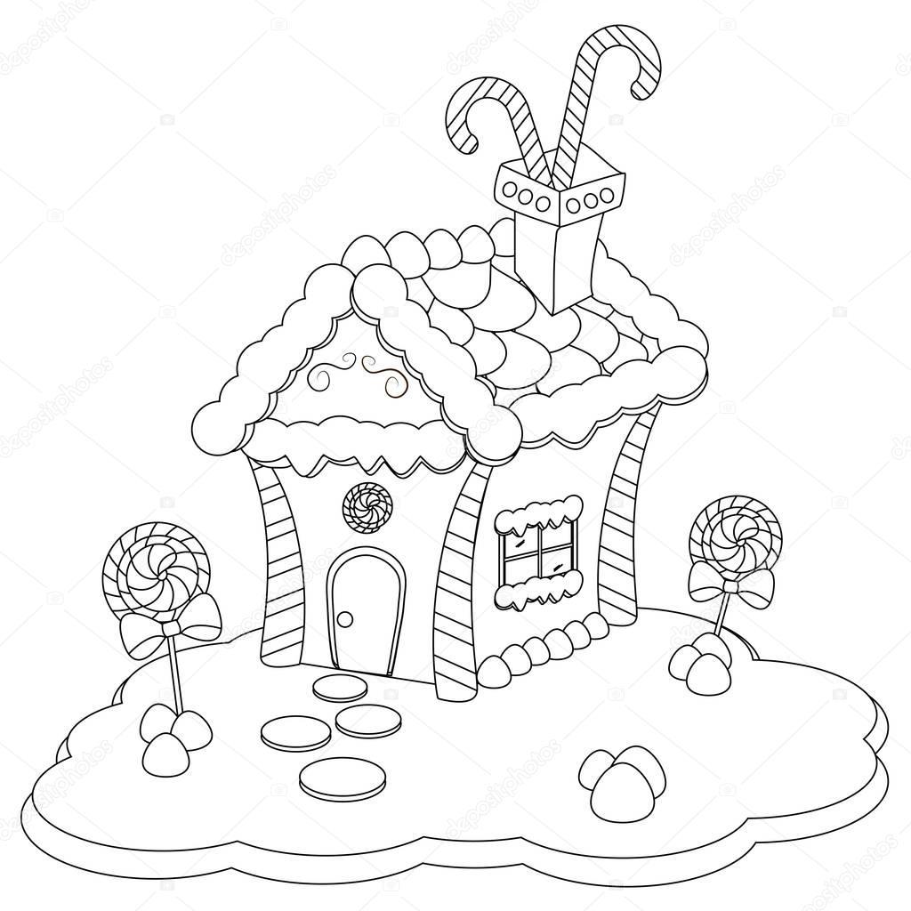 Peperkoek Huis Kleurplaat Stockfoto C Smk0473 128971594