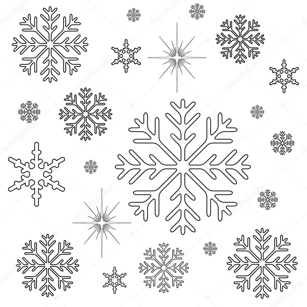 snowflakes christmas coloring page stock photo