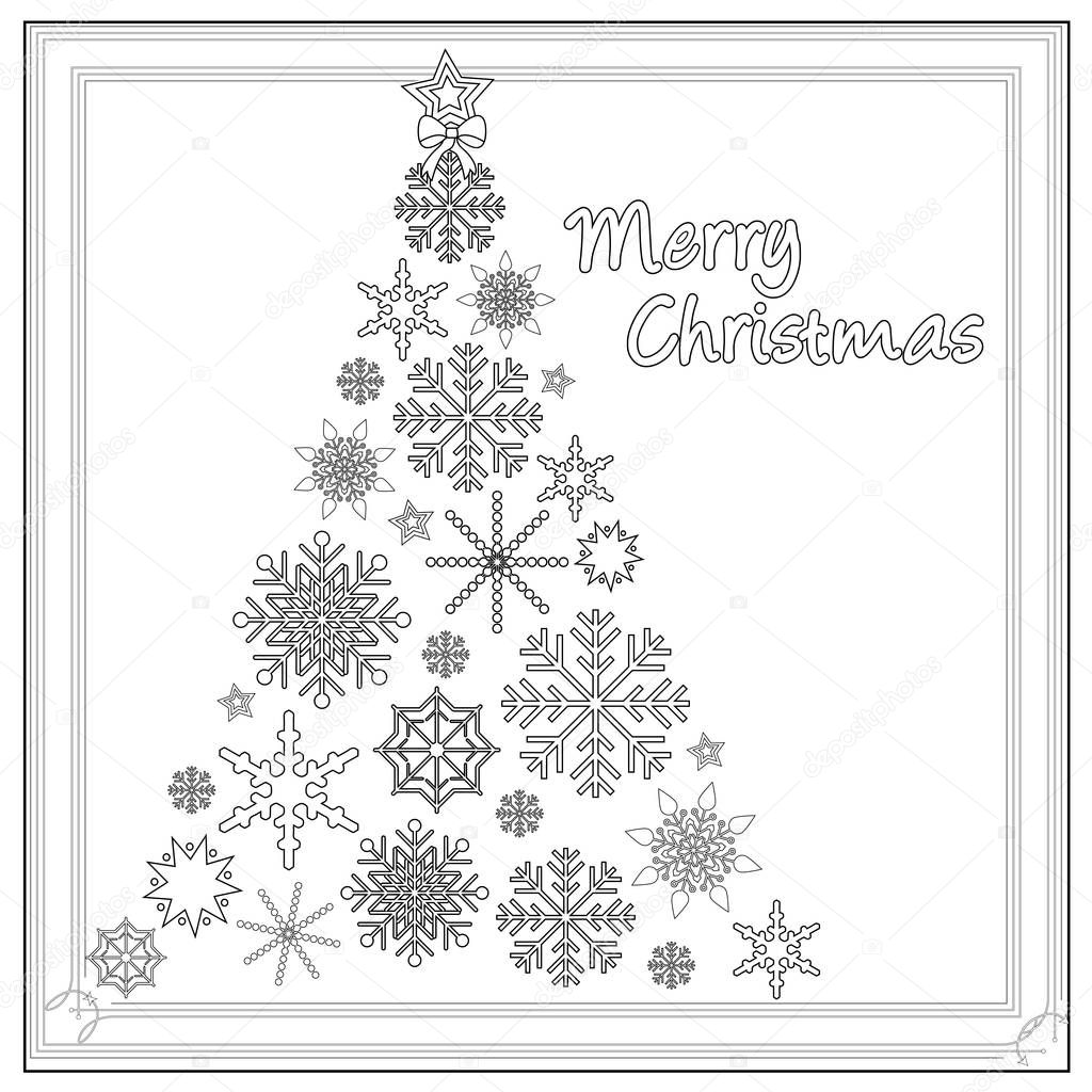 Albero Di Natale Neve Fiocco Da Colorare Foto Stock Smk0473