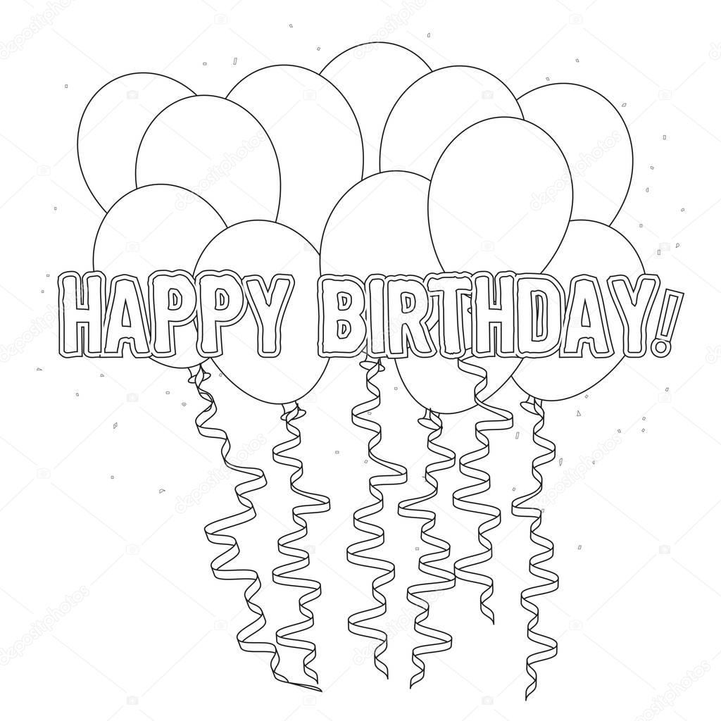 Doğum Günü Boyama Sayfası Stok Foto Smk0473 129156700