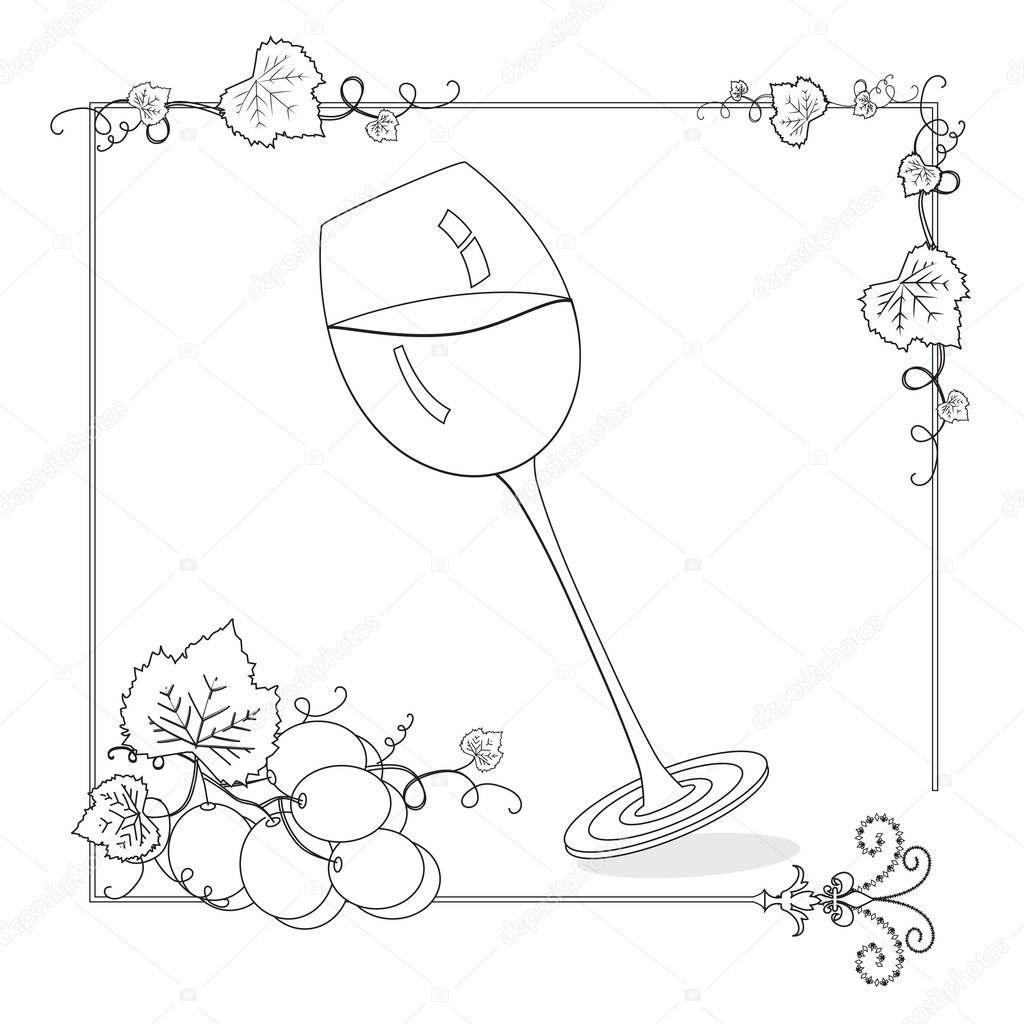 Wijnglas Met Druiven Kleurplaat Pagina Stockfoto C Smk0473 129160378