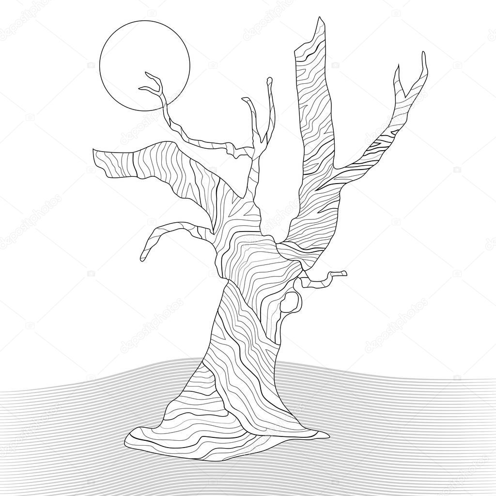 Knorrigen Baum Malvorlagen Stockfoto Smk0473 129269354