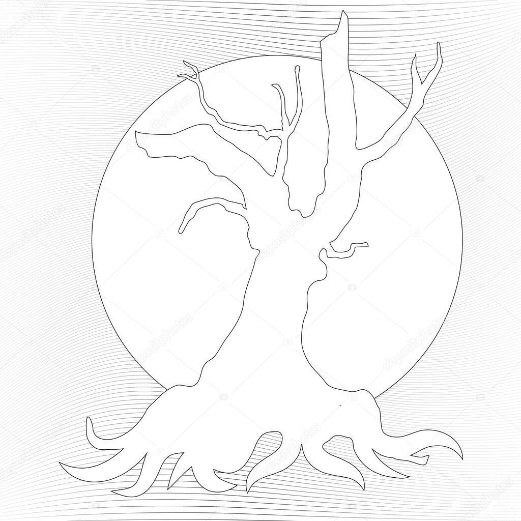 Gnarly Ağaç Boyama Sayfası Stok Foto Smk0473 129269452