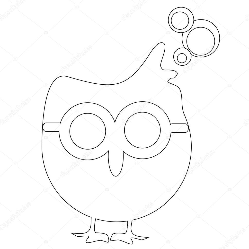 Búho con gafas a los niños página para colorear — Foto de stock ...