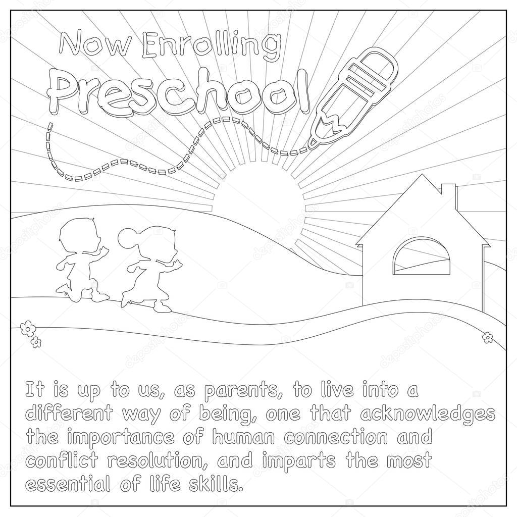 Kids Running To Schoolhouse Coloring Page Stock Photo smk0473