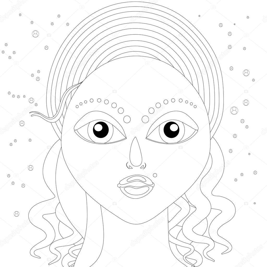 Soyut Kızlar Yüz Boyama Sayfası Stok Foto Smk0473 129337606