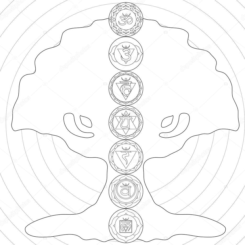 Book of life for coloring - Tree Of Life Chakra Coloring Page Stock Photo 129456852