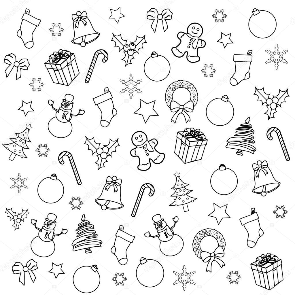 christmas collage background coloring page u2014 stock photo smk0473