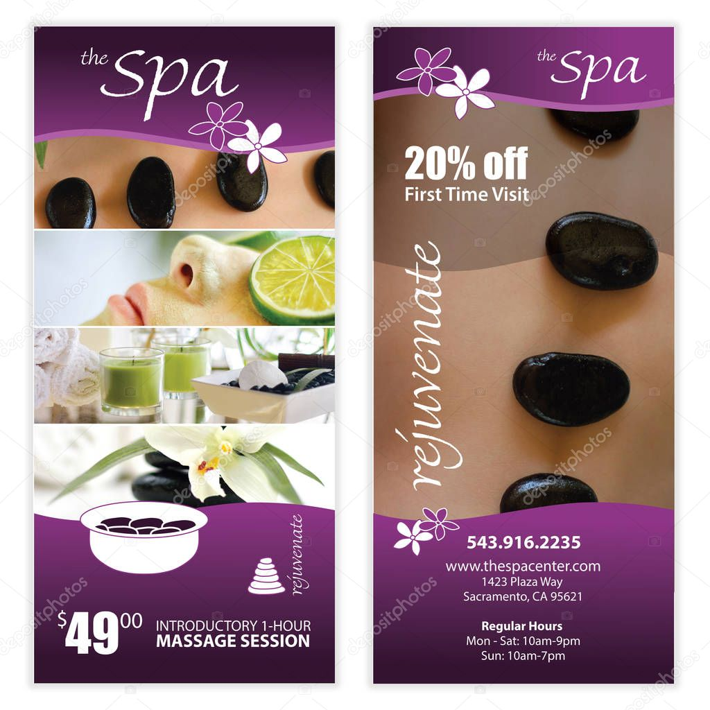 Spa massage front back flyer template stock vector for Massage price list template