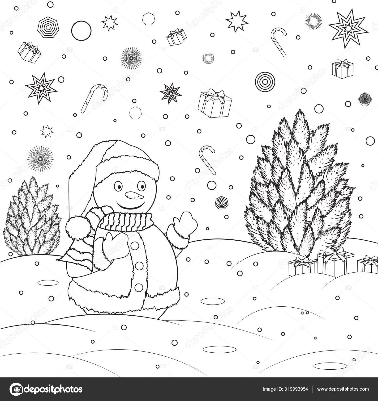 Coloring Book For Childrens Snow With Christmas Tree Black And White Outline Drawing Stock Vector C Lenagerman93 Gmail Com 319993954
