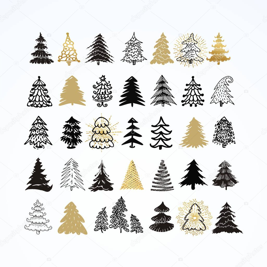 Disegni Di Alberi Di Natale.Set Di Diversi Alberi Di Natale Elegante Elementi Di