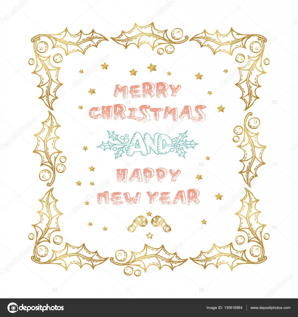Merry Christmas and Happy New Year words on white background — Stock ...