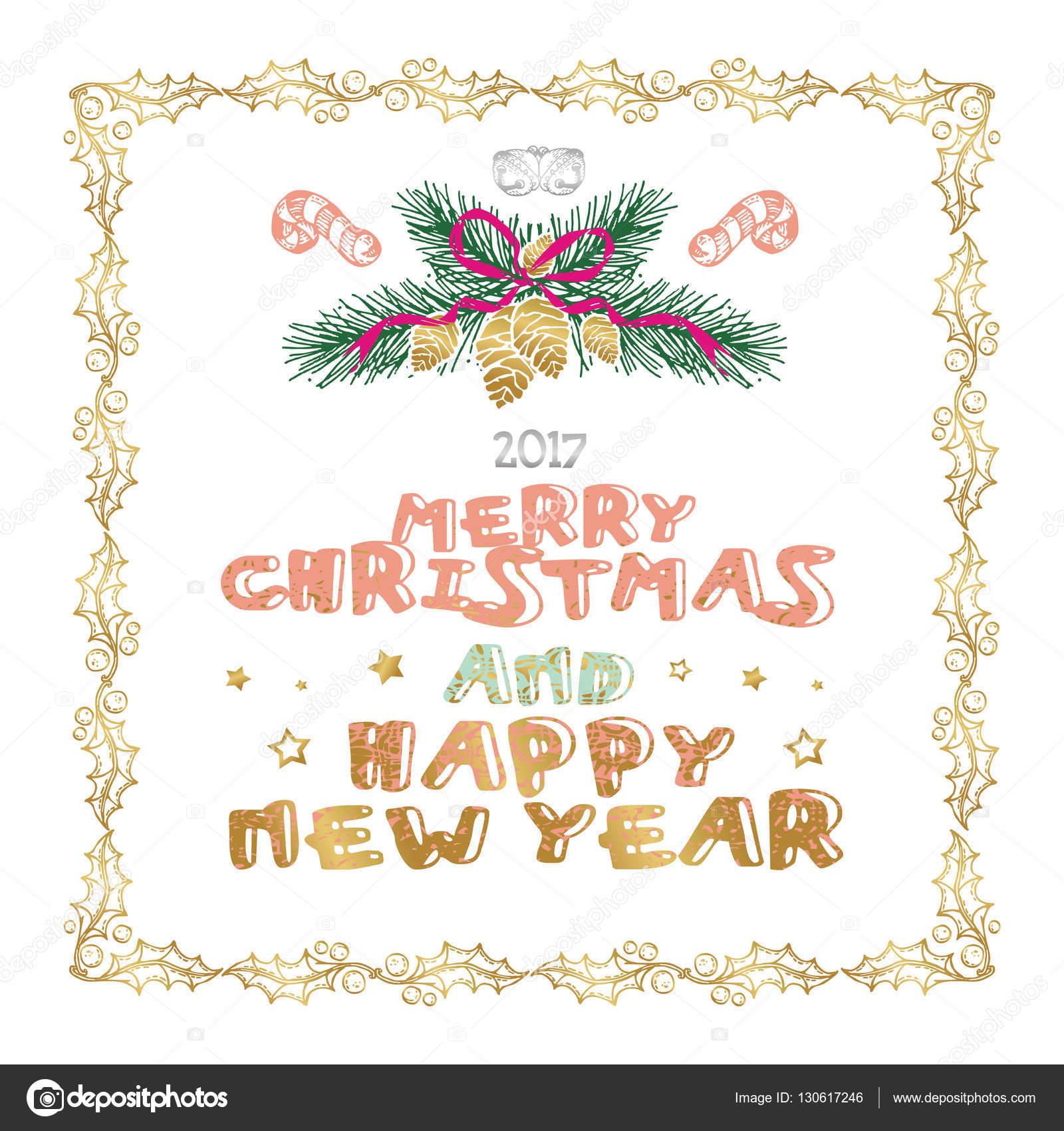 Frohe Weihnachten und Happy New Year Wörter auf weißem Hintergrund ...
