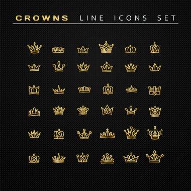 Vector heraldic elements design. Set of golden line crowns.