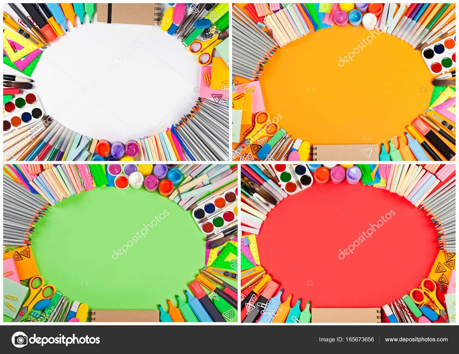 Satz von Schule liefert Rahmen auf anderen Hintergrund — Stockfoto ...