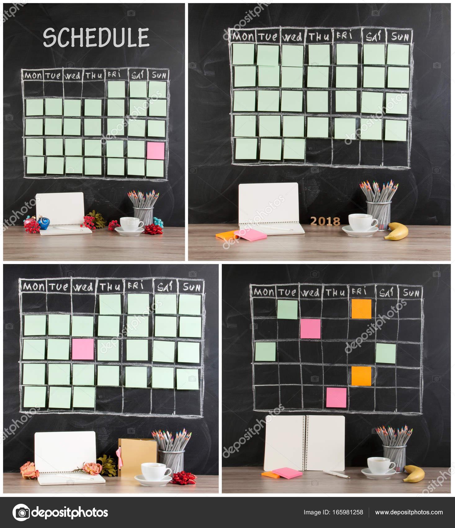 Raster Zeitplan Zeitplan mit Dekoration auf schwarze Tafel zurück ...