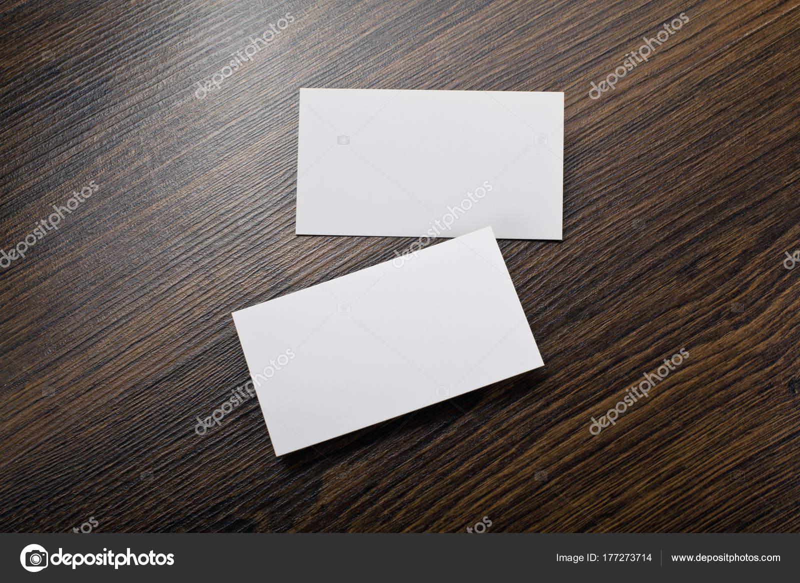Mock Up Des Weißen Visitenkarten Auf Holz Hintergrund