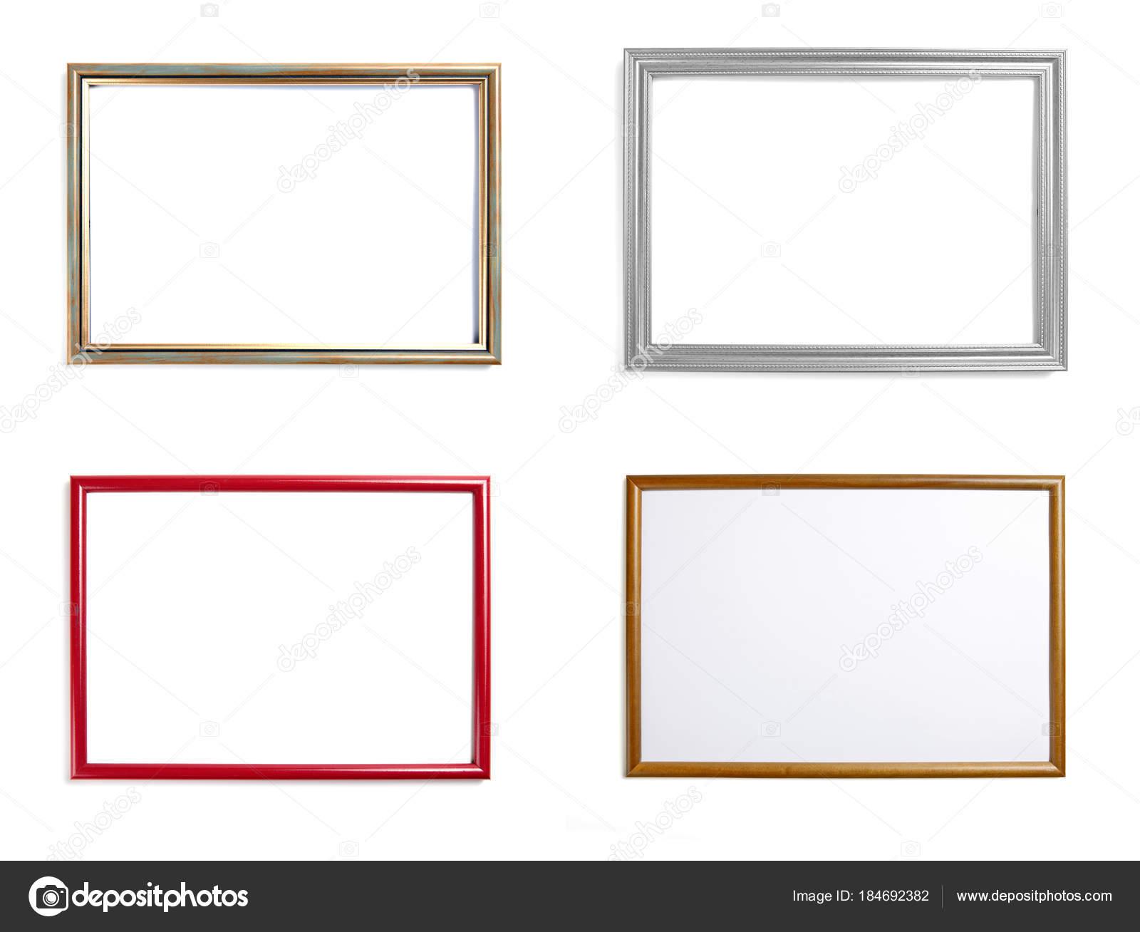 Conjunto de marcos para cuadros o fotografías en fondo blanco — Foto ...