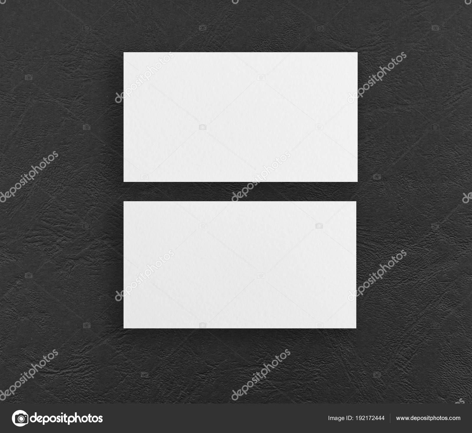 Mock Up Von Zwei Horizontale Visitenkarten In Schwarzem
