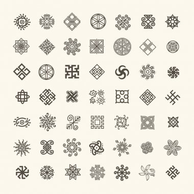 Set of icons with Slavic pagan symbols for your design