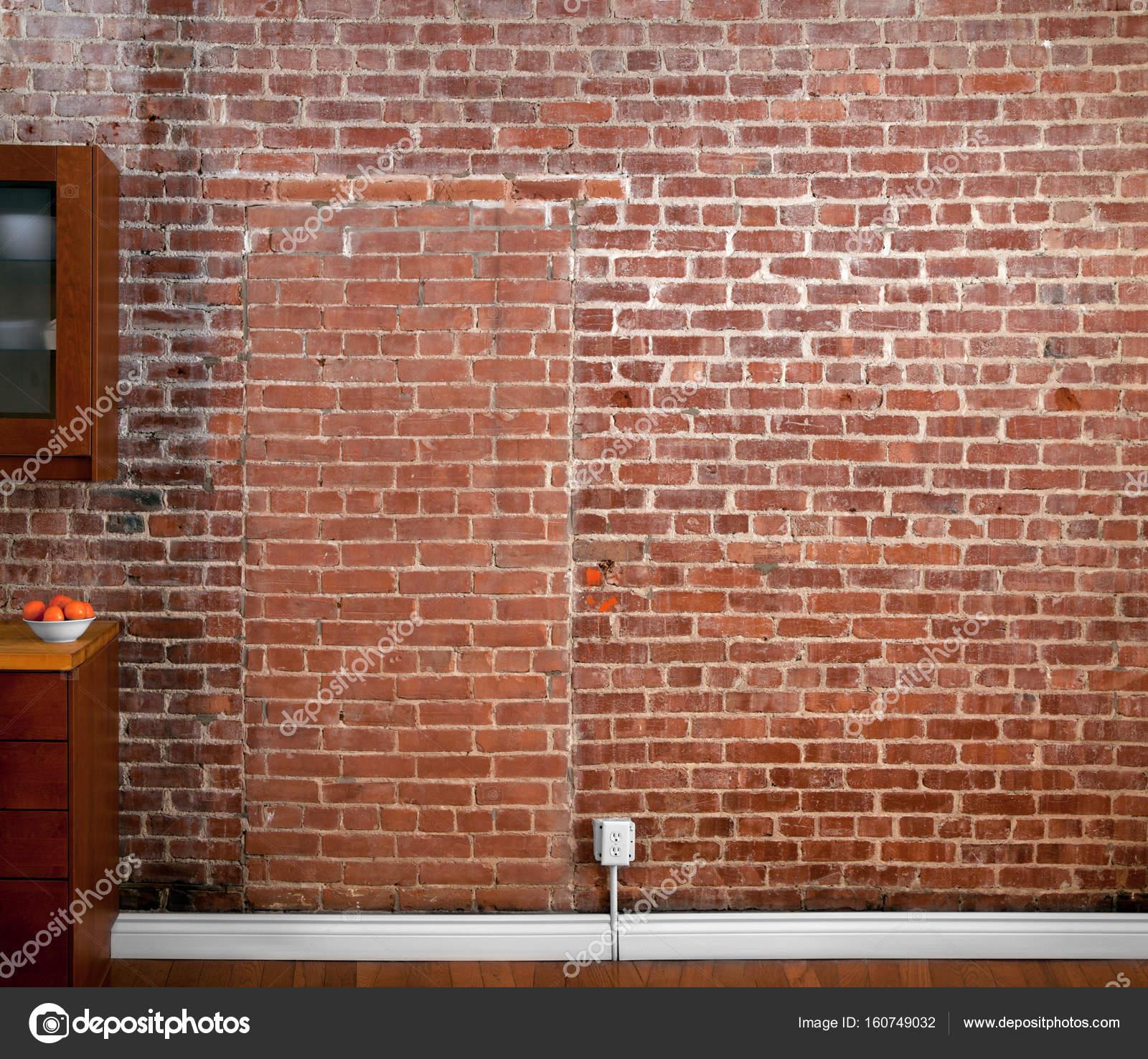 Perspective De Mur Brique Industrielle Dans Une Cuisine