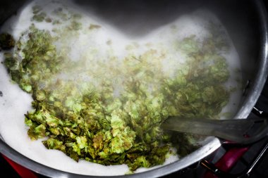 Homebrewer's Boiling Kettle on the burner