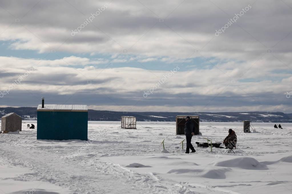 Ice Smelt Fishing Shack in Canada