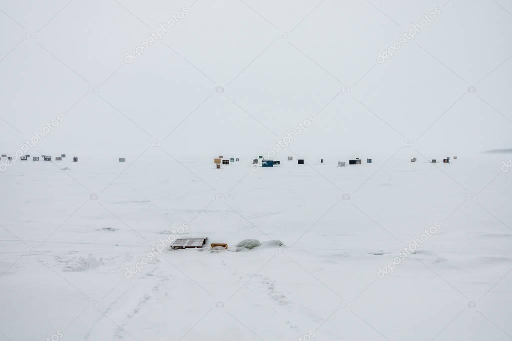 Ice Smelt Fishing Shack during a Freezing