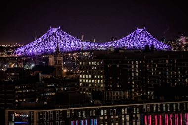 Montreal, Canada - November 21, 2017: Illuminated (by Moment Factory) Jacques-Cartier Bridge at Night from an Elevated Point of View.