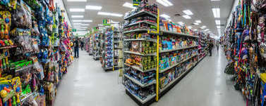 Montreal, Canada - November 27, 2017: Dollarama Retail Store Indoor Aisle Panorama and People Buying Toys, Furnitures and all the Cheap Items Available.