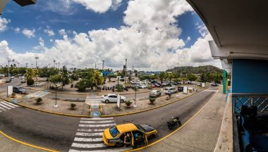 SAN ANDRES ISLAND, Colombia - Circa March 2017: Panorama at the San Andres Airport or the outdoor Entrance during hot day of Afternoon.