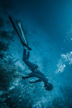 SAN ANDRES ISLAND, Colombia - Circa March 2017: Freediving Simulation of  Blackout during a Diving Course in the Caribbean.