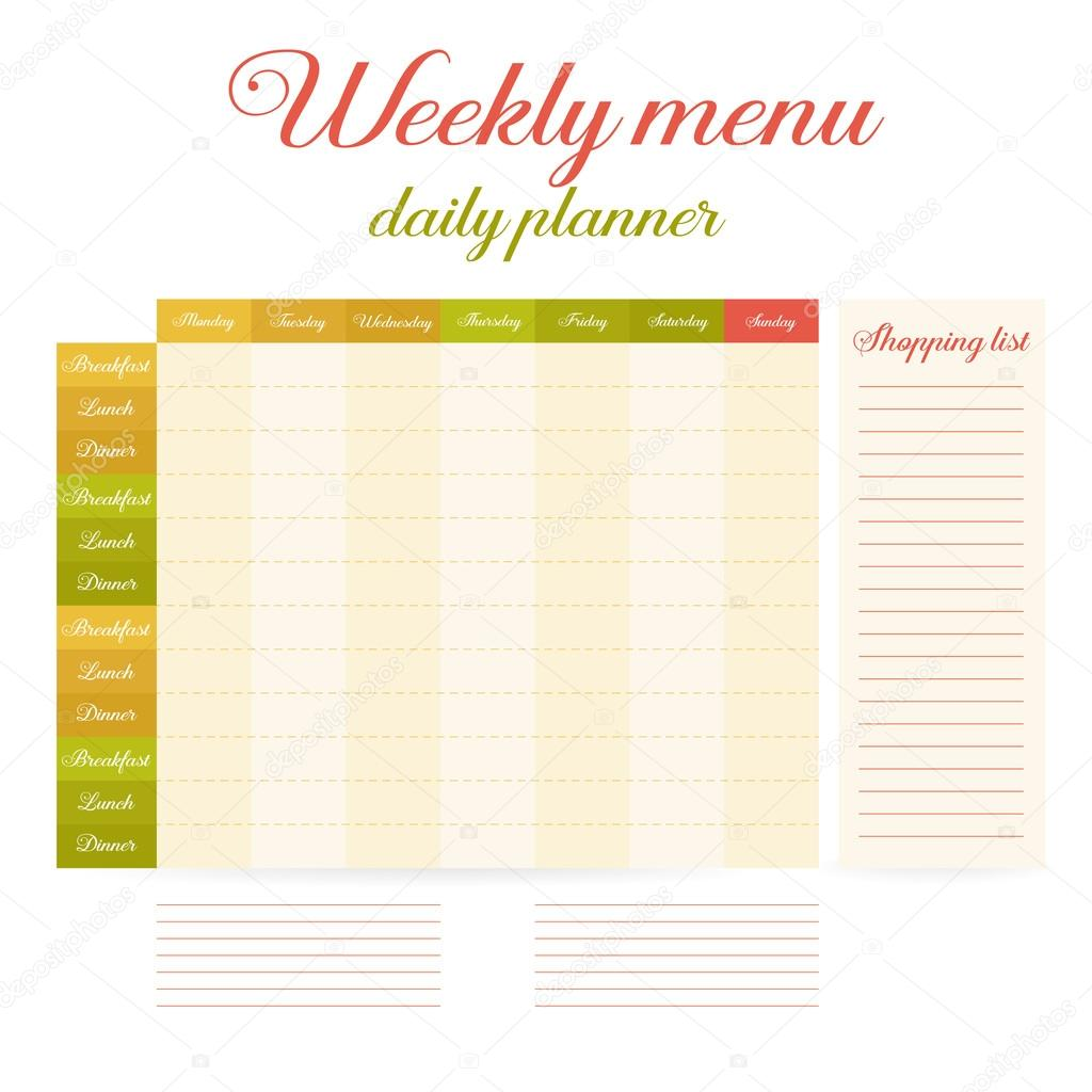 weekly eating menu daily planner stock vector helen tosh 125683640