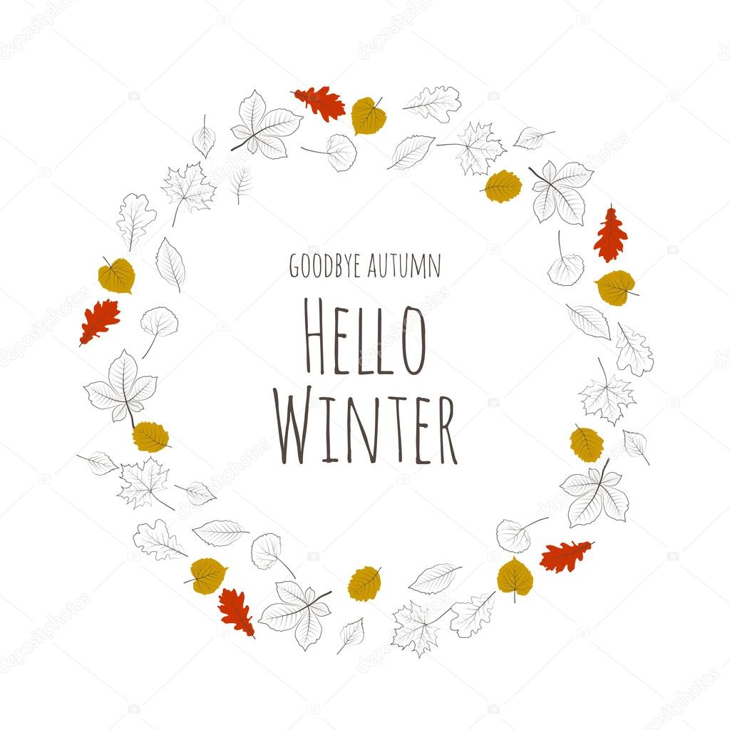 Hola árbol invierno hojas de color vector Letras — Vector de stock ...