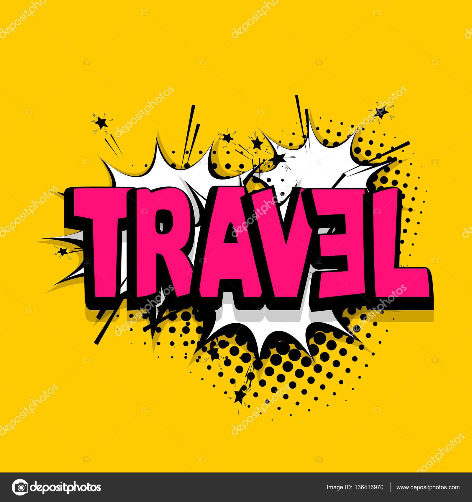 Schriftzüge Reisen Buchen Sie Urlaub Comics Ballon Stockvektor