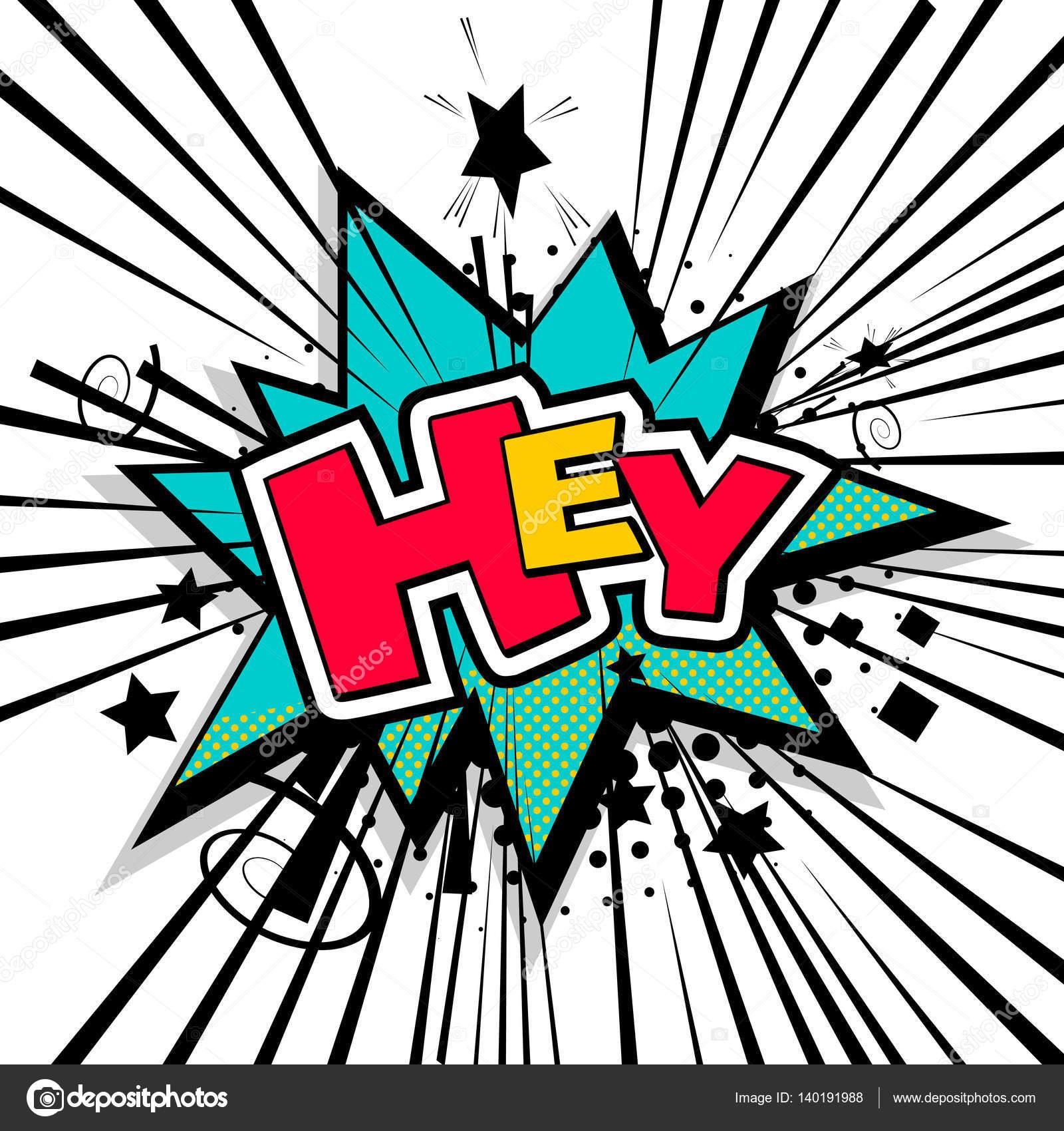 Schriftzug hey comic Text Klang — Stockvektor © helen.tosh #140191988