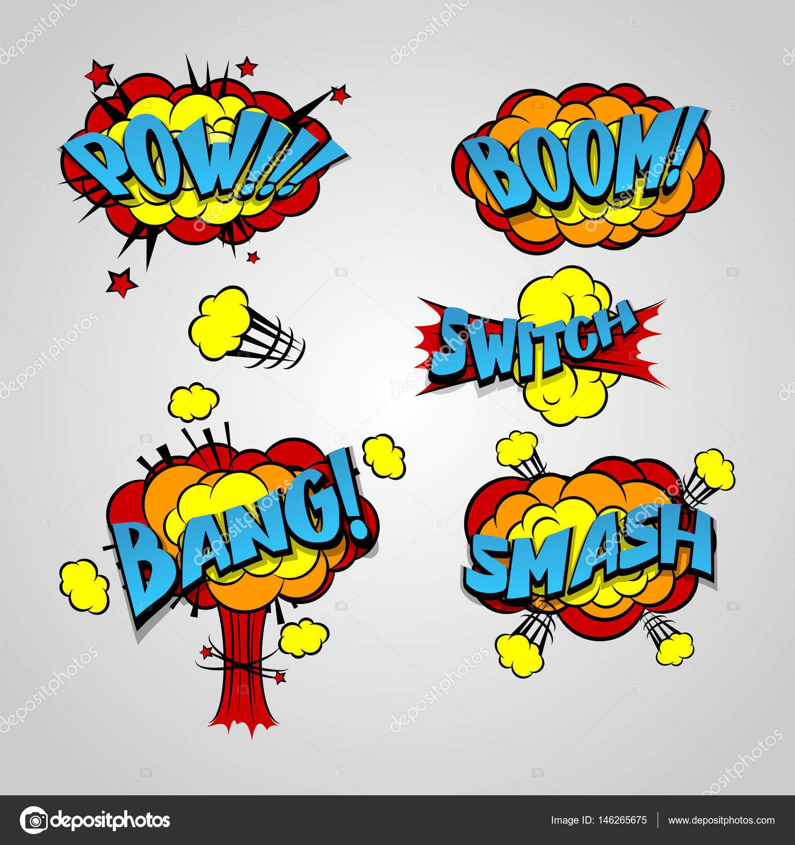 Comic book cartoon explosion set bang boom stock vector helen comic book burst elements text dialog explosion boom bang pow smash buycottarizona