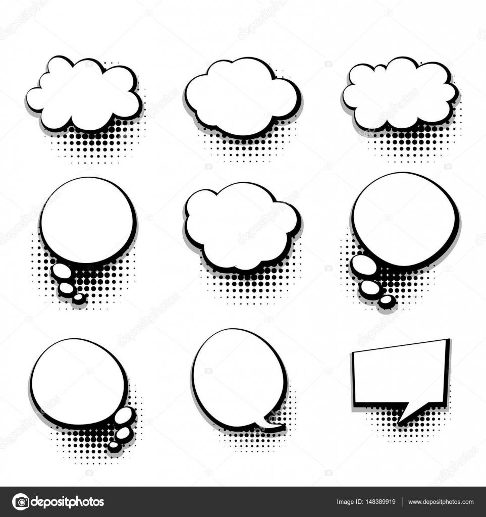 Collection Blank Template Comic Text Speech Bubble Stock Vector